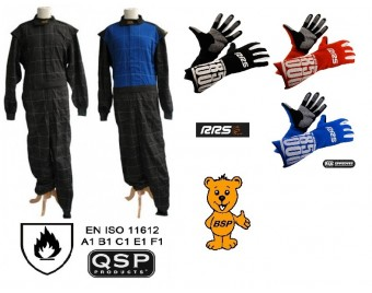 UKR Set 1 QSP Rennoverall nach ISO 11612 EN531 + RRS Handschuhe mit FIA